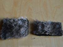 Op het rechtse proeflapje zie je duidelijk dat de mooie haren van het bont helemaal zijn kapotgeknipt.